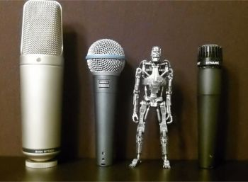 Davids Microphones with Terminator Robot